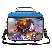 Wildlife Planet School Lunchbox for Boys, Girls, Kids (Blue)