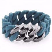The Rubz Natural Silicone 20mm Unisex Bracelet Petrol & Antique Silver