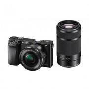 Sony Aparat SONY Alpha A6000 (ILCE-6000) + obiektywy 16 - 50 mm i 55 - 210 mm Czarny