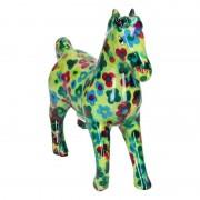 Pomme Pidou Spaarpot paard 21 cm groen/bloemen