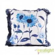 Perna design elegant albastra cu imprimeu floral 45x45cm Troyes 23305 VH