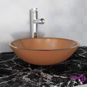 vidaXL Umivaonik Kaljeno Staklo 42 cm Smeđi