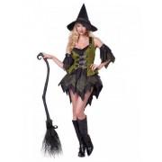 Vegaoo Glamouröse Hexe-Magierin Damenkostüm schwarz-grün