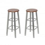 vidaXL Бар столове, 2 броя, метал със седалка от MDF