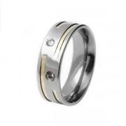 Aliança em aço inox confort reta 6mm c/ 2 filetes interrompidos em ouro e 2 pedras de zircônia de 2mm