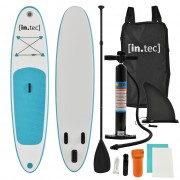 [in.tec]® Tabla de surf hinchable remar de pie Paddle Board 305 x 71 x 10cm Tabla de SUP de aluminio con remo y bomba - Turquesa