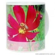 Kubek ceramiczny różowy kwiat z pszczołą 330ml
