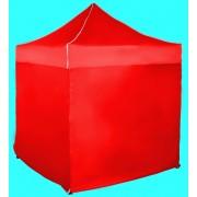 Gyorsan összecsukható sátor 2x2m – acél, Piros, 4 oldalfal