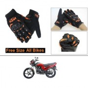 AutoStark Gloves KTM Bike Riding Gloves Orange and Black Riding Gloves Free Size For Hero Passion