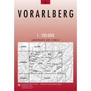 Fietskaart - Topografische kaart - Wegenkaart - landkaart 34 Vorarlberg | Swisstopo