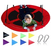Giant 40 Saucer Tree Swing in Elite Red - 400 lb Weight Capacity - Durable Steel Frame, Waterproof - Adjustable Ropes - Easy to Install - Bonus Flag Set and 2 Carabiners - Non-Stop Fun for Kids by Royal Oak