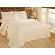Set de cuvertura de pat Valentini Bianco cu 2 fete de perna din bumbac jackard model Fust 274 Crem