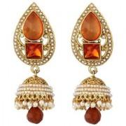 Jewels Gold Alloy Party Wear Wedding Latest Designer Stylish Jhumki Earring Set For Women Girls