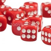 Alcoa Prime 50 Opaque Six Sided Spot Dice Set of 50 D6 D&D RPG Warhammer Games Red 12mm