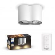 Philips HUE White Ambiance 56332/31 / P6 Pillar přisazené stropní bodové svítidlo 2xGU10 5.5W / 500lm 2200-6500K + SWITCH bílá Bluetooth