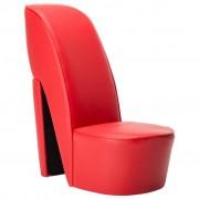 vidaXL Стол във форма на обувка на висок ток, червен, изкуствена кожа