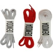 DE'MODA Flat Pack of 3-Red,White,Grey Shoe Lace(Red, White, Grey Set of 3)