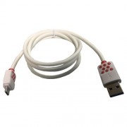 Cablu Date Si Incarcare Micro USB HTC One M9 Alb Cu Buline
