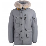 Parajumpers Parka lungo Parajumpers Kodiak in nylon oxford grigio con cappuccio in pelliccia