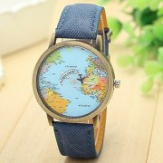 Febo India Blue World Map Mini World Watch - For Men Women