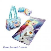 Disney Frozen Girls Sleeping Bag-Princess Anna and Elsa, Olaf-3 Pc Indoor Camping-Sleepover-Overnight Cozy Slumber Bag with Zipper Compartment and Eyemask for Easy Sleep