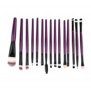 Conjunto De 15pcs Piezas Profesional Pack Pinceles Pinceles Maquillaje Completo + Negro Púrpura