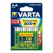 Tölthető elem, AA ceruza, 4x2100 mAh, előtöltött, VARTA Longlife Accu