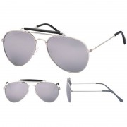 Geen Politiebril zilver met spiegel glazen voor volwassenen