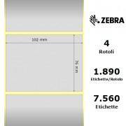Etichette Zebra - Z-Ultimate 3000T Silver, formato 102 x 76