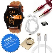 Wake Wood Black Dial Watch For Men with Free Ear Phone + AUX Cable + Mobile OTG + USB Cable + Mobile Ring Holder Wake Wo