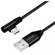 Logilink Cavo USB Micro-B Maschio Angolato/USB-A Maschio Dritto 1m Nero