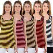 NumBrave Yellow Pink Beige Red White Stripes Tank Tops (Pack of 5)