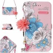 Para IPhone 7 Plus Y 8 Plus Pink Background Azul Rosa Patron Horizontal Flip Funda De Cuero Con Soporte Y Ranuras Para Tarjetas Y Perla Adorno Flor Y Cadena