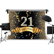Zhyxia Zhy 7X5FT 21Birthday Happy Background Gold Stars Dot Ribbon Party Celebration Banner Cake Table Decor Photography Backdrop 390
