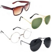 Sulit Aviator, Round, Wayfarer Sunglasses(Brown, Green, Clear, Black)