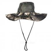 Deportes al aire libre Senderismo Camuflaje de pesca Sombrero de Boonie de ala ancha - Khaki + Negro