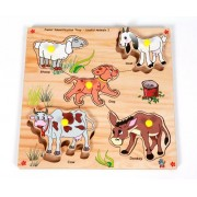 Skillofun Wooden Junior Identification Tray Useful Animals with Knobs, Multi Color