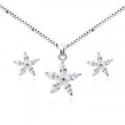 Set argint lant, pandantiv si cercei cu elemente swarovski floare cristal alb