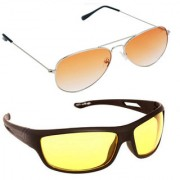 Magjons Fashion Combo Of Orange Aviator And Night Driving Sunglasses