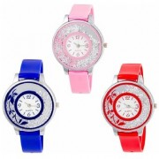 R P S fashion new looked fancy model combo pack of 3 girl watch