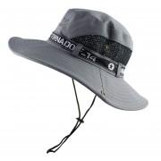 de sol cubo verano pesca Boonie sol protección UV largo malla de ala ancha gorra de playa para senderismo al aire libre Sombrero LANG(#Gris)
