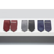 Mens Next Ties Two Pack With Tie Clip - Black/Grey