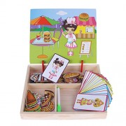 Rrimin Baby Wooden Magnetic Puzzle Board Dress Up Games Education Sketchpad(05)