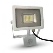 LED reflektor , 20 Watt , Ultra Slim , SMD , mozgásérzékelős , természetes fehér , fehér ház