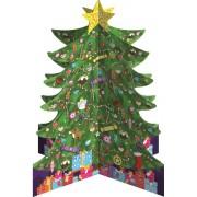 3D adventskalender A4+ met envelop - om neer te zetten - kerstboom groen