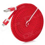 Micro USB Data cable de carga para Samsung + Mas - Rojo + Negro