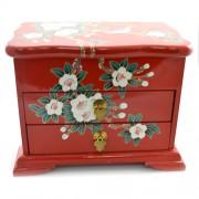 Caseta de bijuterii din lemn de piper rosie cu vrabiute
