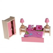 Hunulu Hunulu Miniature House Bedroom Family Children Wooden Furniture Doll Set Kit Toys Accessories