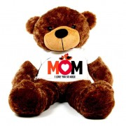 Brown 5 feet Big Teddy Bear wearing a Mom I Love You So Much T-shirt