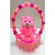 Grabadeal Pink Soft Lovable/Huggable Teddy Bear in a Beautiful Decorated Rose Basket for Valentines Day Gifts/Gift for Girlfriend/Love Gift (30 cm)